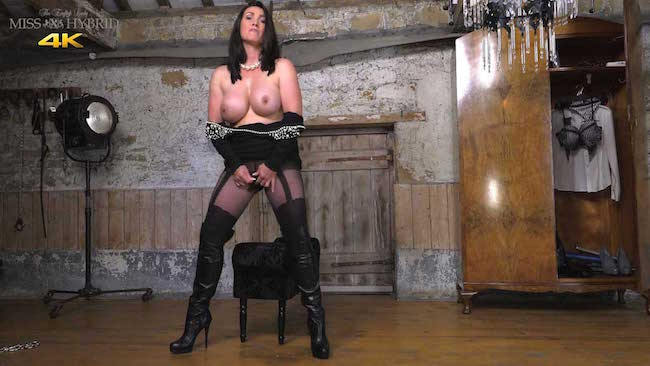 Glass dildo ripped pantyhose Miss Hybrid leather thigh boots and big tits.